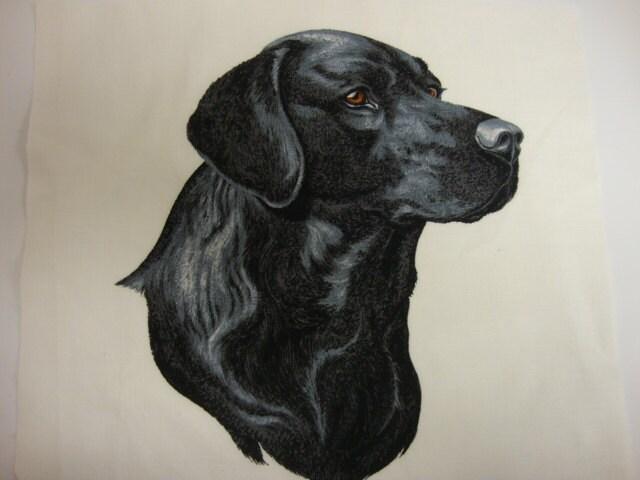 Applique Fabric: Large Black Labrador Retriever, Dog Applique