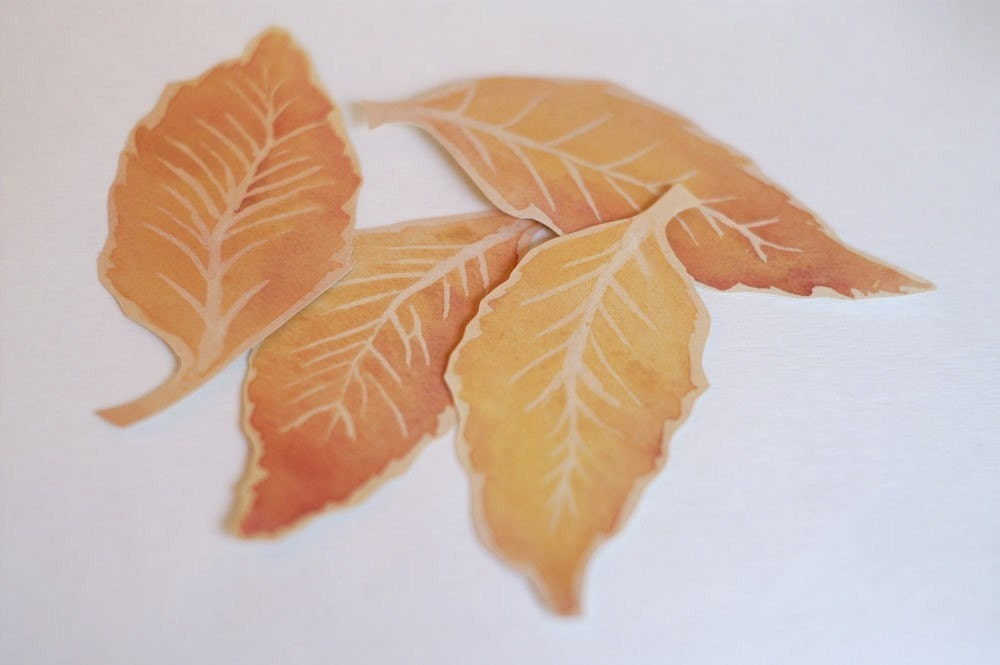 Fall Elm Leaves - Hand cut prints of original watercolor leaves- (set of 12)
