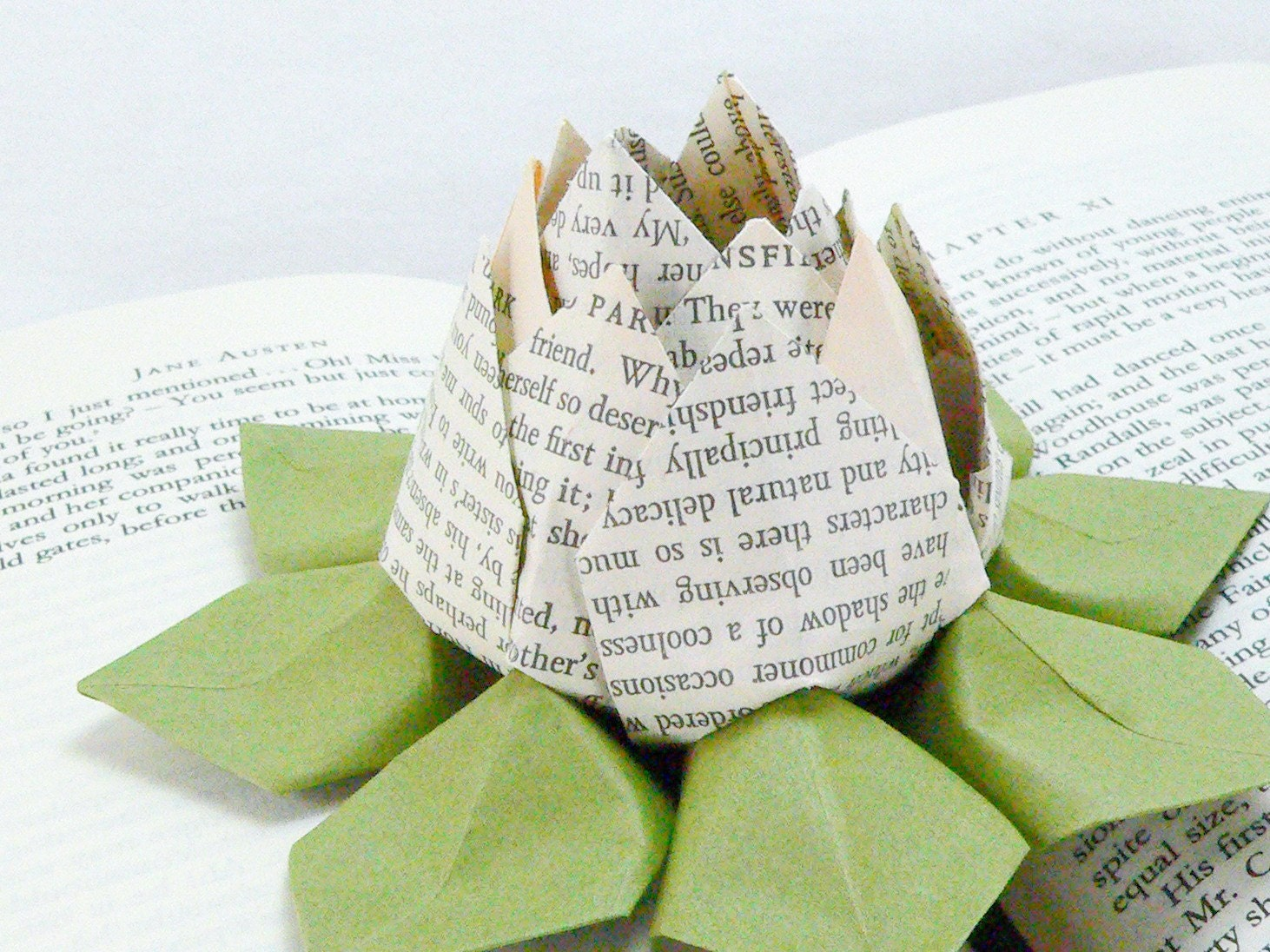 Origami Lotus Flower Decoration or Favor - made from the pages of  an old Jane Austen novel
