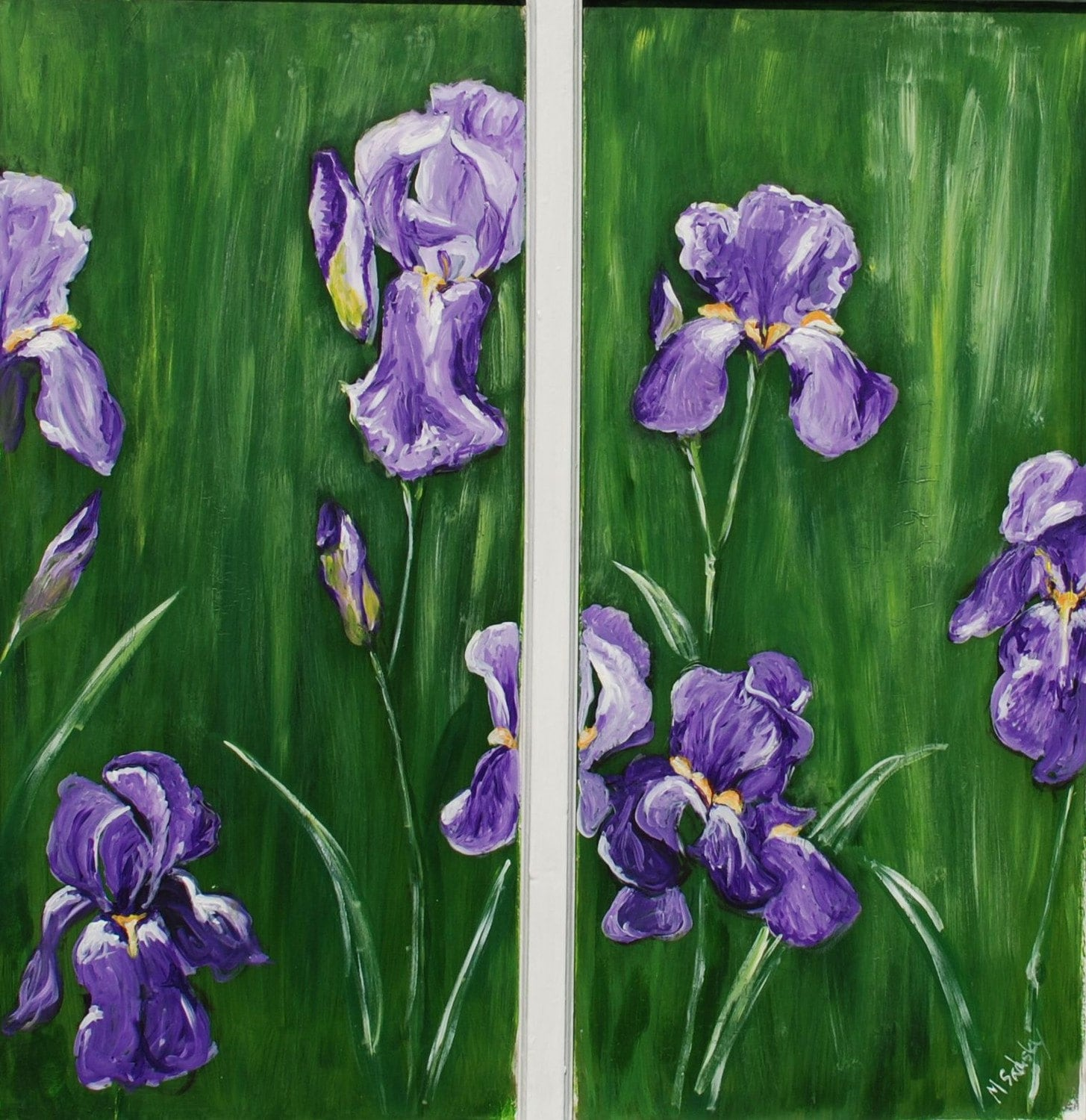 View of Irises...32 x 31 original acrylic painting on vintage window