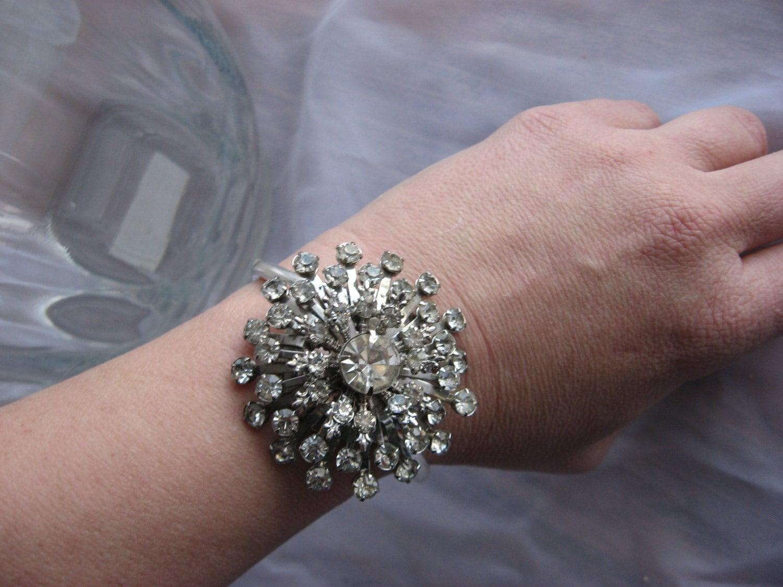 Glittering flower an ooak bracelet