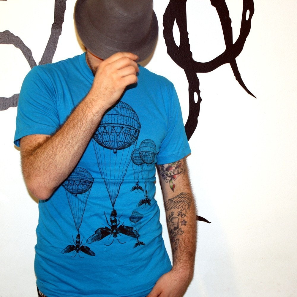 Steampunk Hot Air Balloon Insect Teal T-Shirt - American Apparel Aqua - Free Shipping - Available in XS, S, M, L, XL and XXL