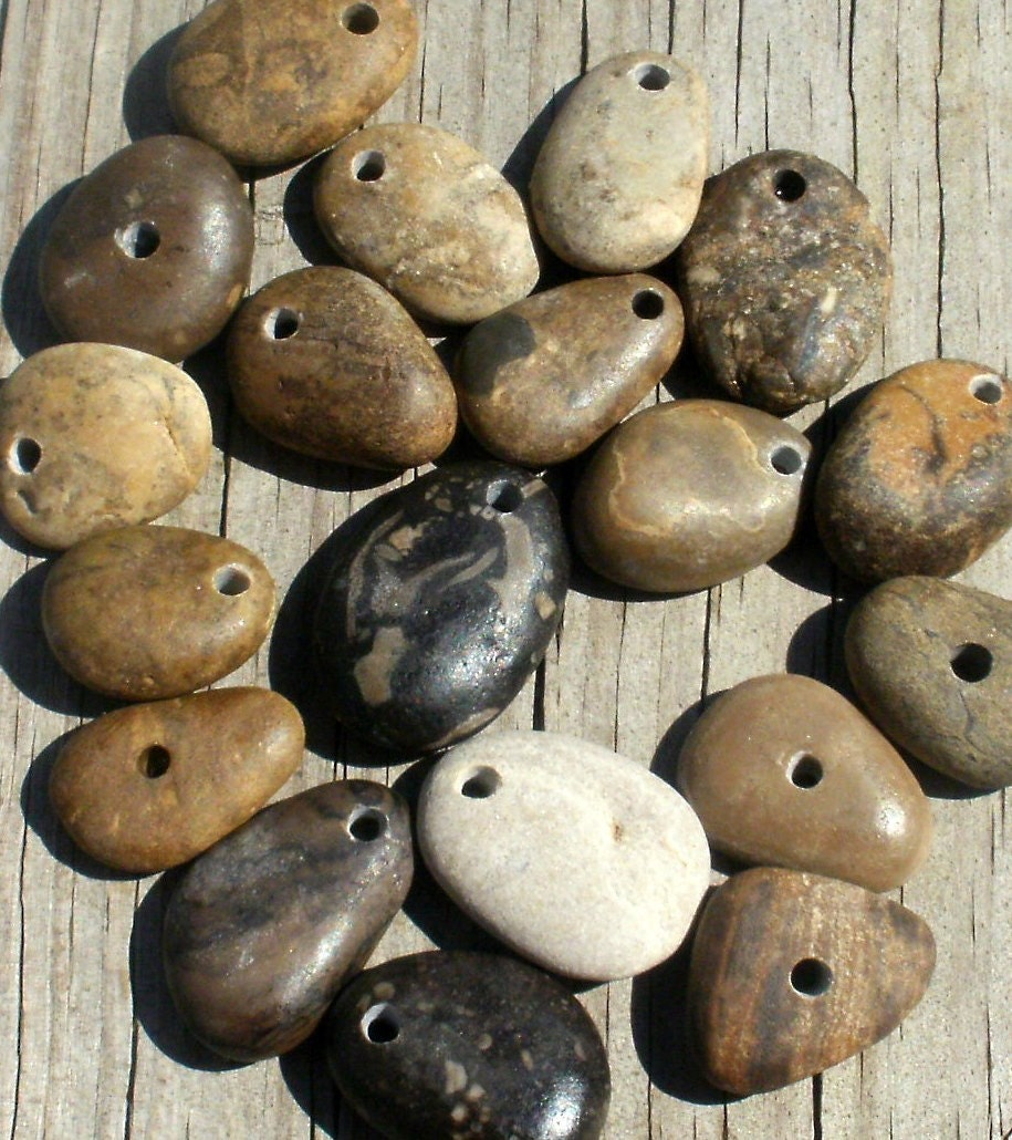 JUNGLE BOOK genuine drilled beautiful detailed beach stones and fossils