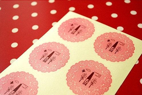 Lace Doily sticker (Transparent) - Pink 20pcs