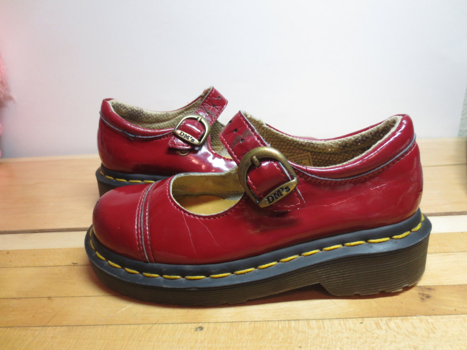 Vintage Red Patent Leather Doc Martins Dr Martens By