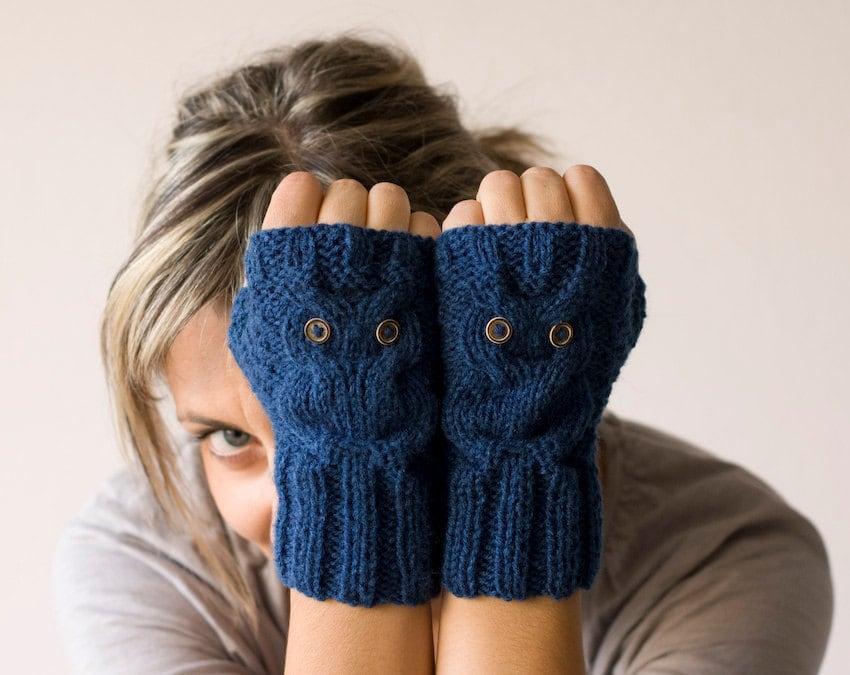 Blue owl fingerless gloves , mittens - homelab