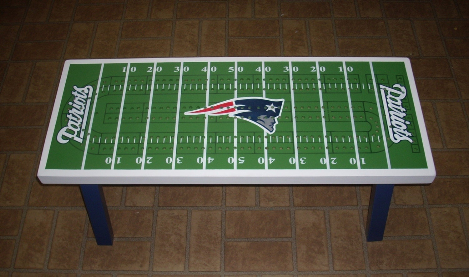 Cribbage board coffee table patriots superbowl by therightjack for Football coffee table