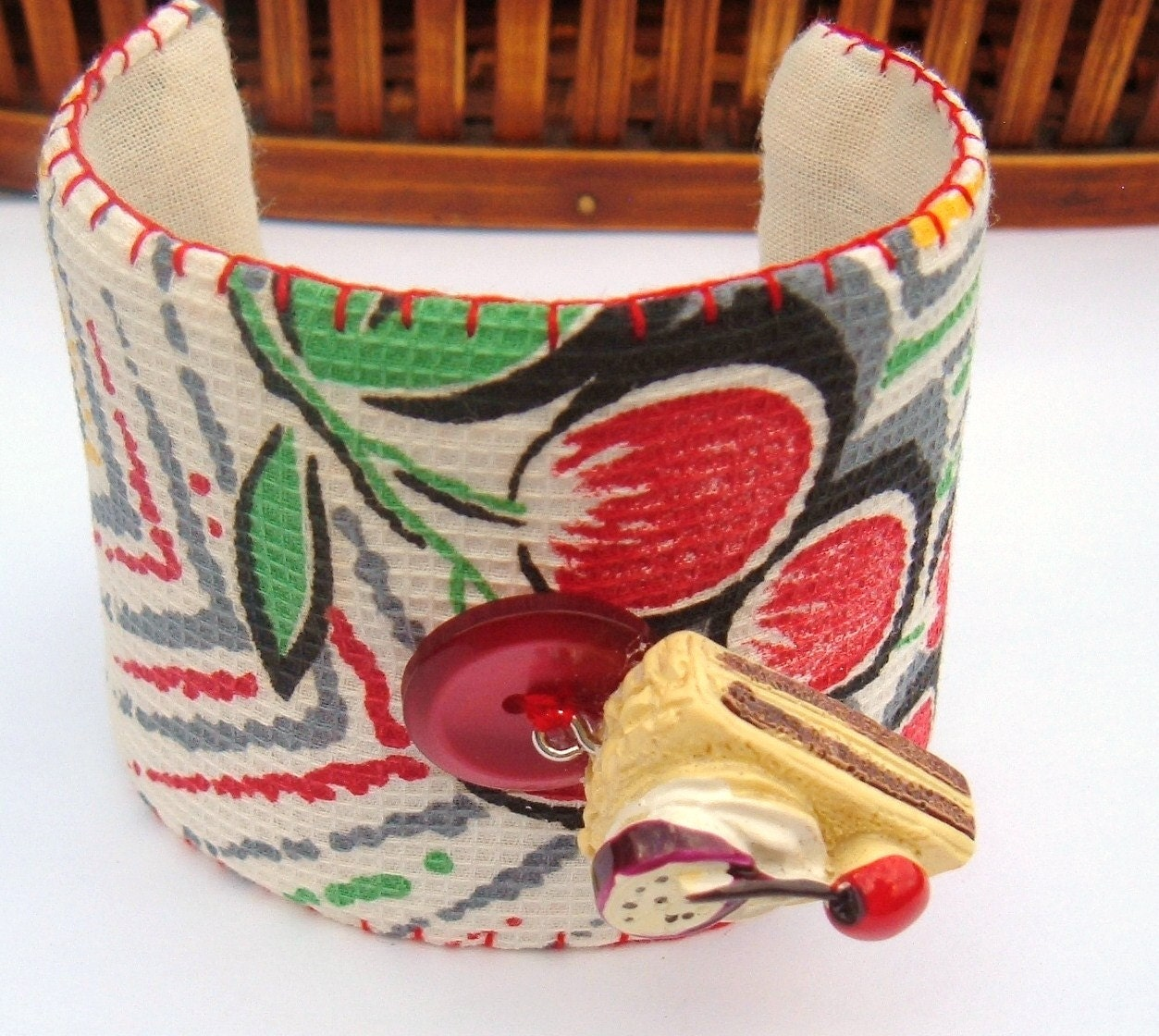 Red Grapes and Cherry Pie Fabric cuff Bracelet vintage recycle