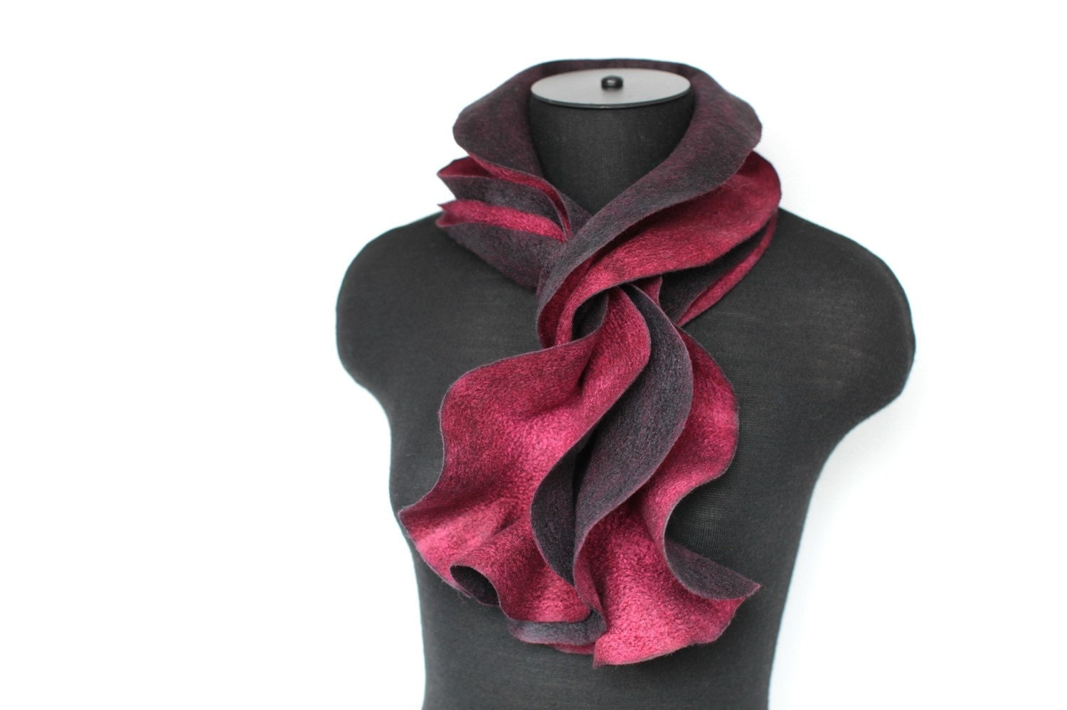 Felted Wavy Narrow Scarf Black & Red by FeltedPleasure on Etsy from etsy.com