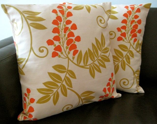 Two Handmade Cream, Orange and Green Floral Cushion Covers, contemporary designer fabric slip covers, throw pillows, decorative cushions, accent pillows