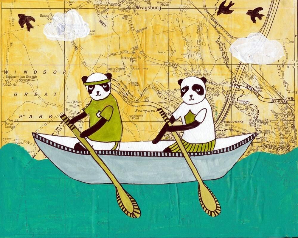 Pandas Love Canoes - 8X10 Print