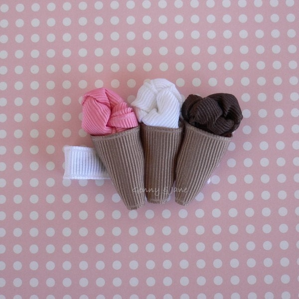 Ice Cream Cones Ribbon Sculpture Hair Clip