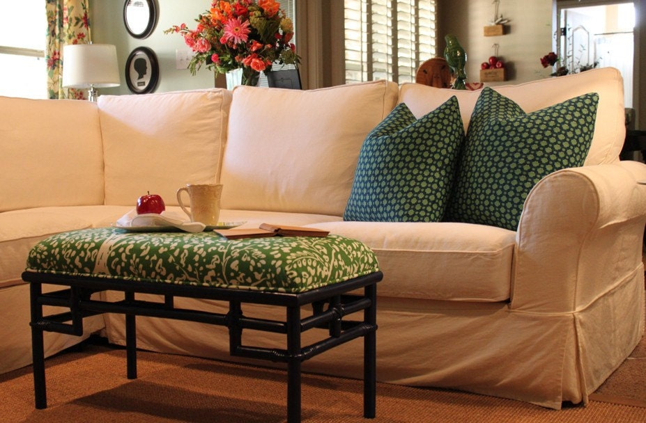 Fretwork bench upholstered in Fauve by Clarence House