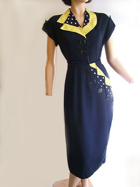 1940s day dress by mademoiselle juliette blue and yellow with polka