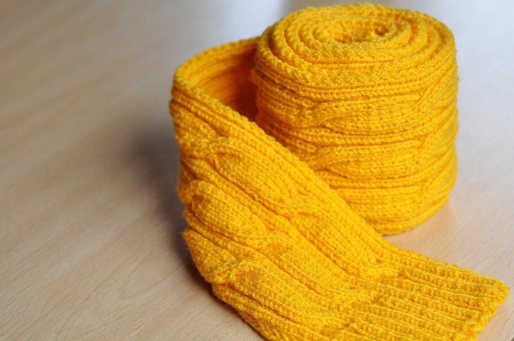 Hand knitted Aran yellow scarf