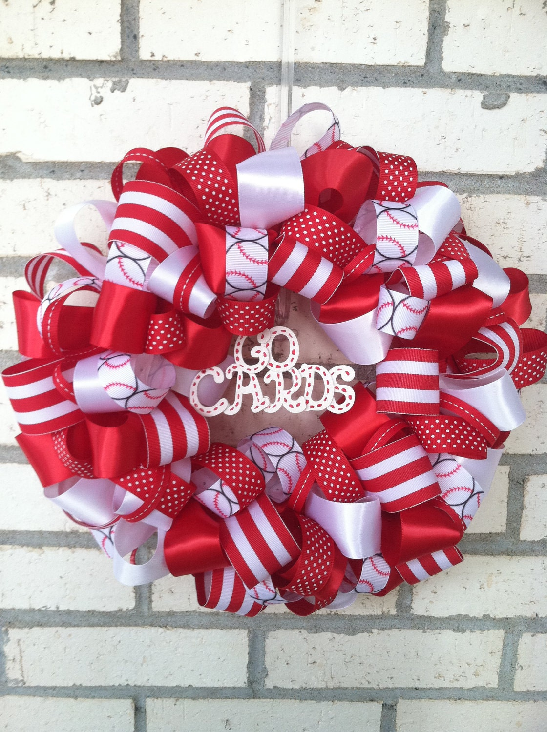 items similar to st louis cardinals 10 inch ribbon wreath