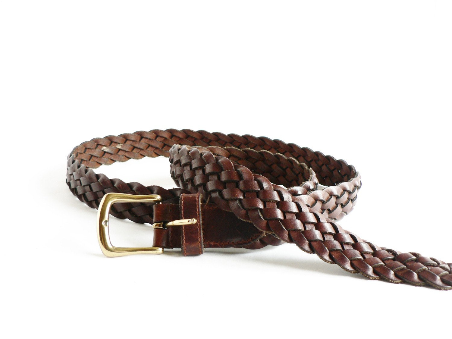brown woven leather belt s size 46 by etsplace on etsy