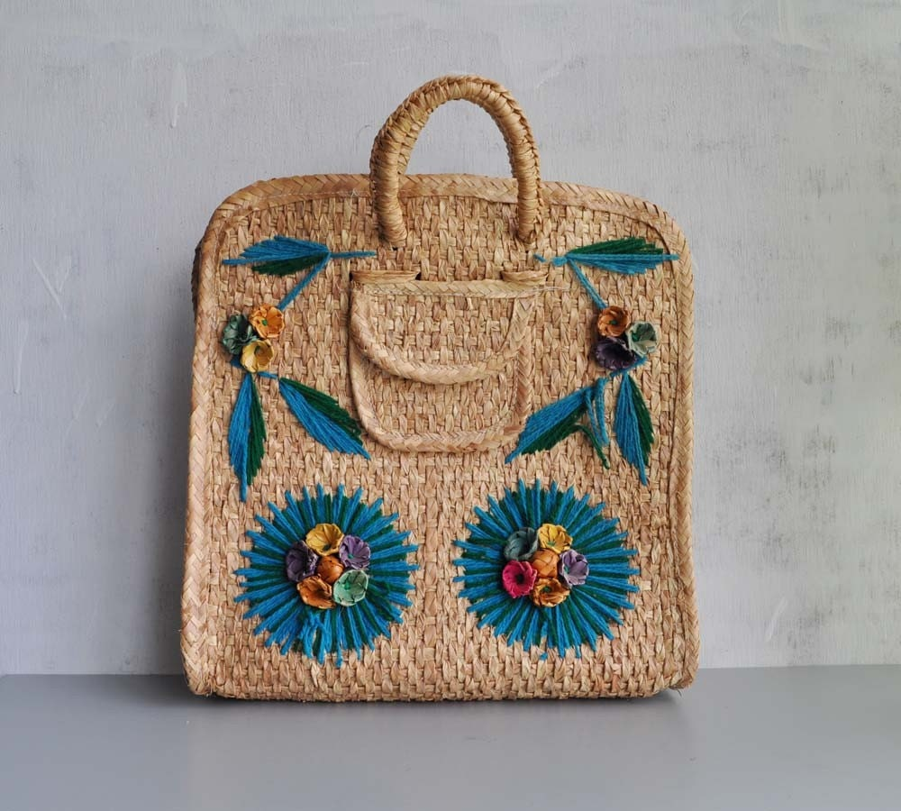 Vintage Woven STRAW Beach Tote by MariesVintage on Etsy from etsy.com