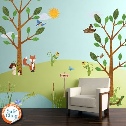 forest wall decals for personalized kids wall by. Black Bedroom Furniture Sets. Home Design Ideas