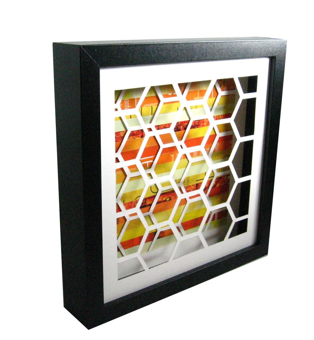 SALE - honeycomb shadowbox- made from recycled magazines