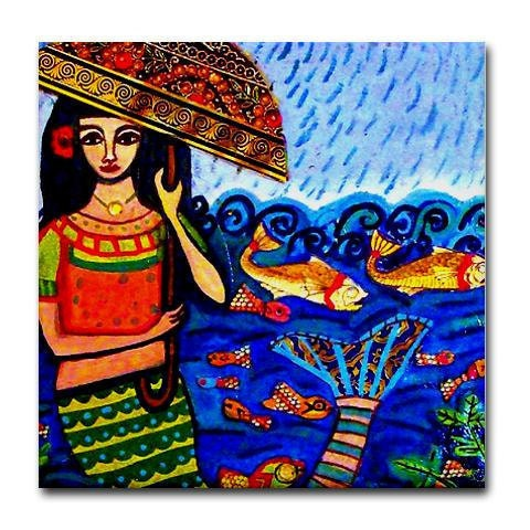 Kitchen Tile - Mermaid Tile Coaster - Mermaid Art Fish Modern Mexican Folk Art Gift - Ocean Sunset
