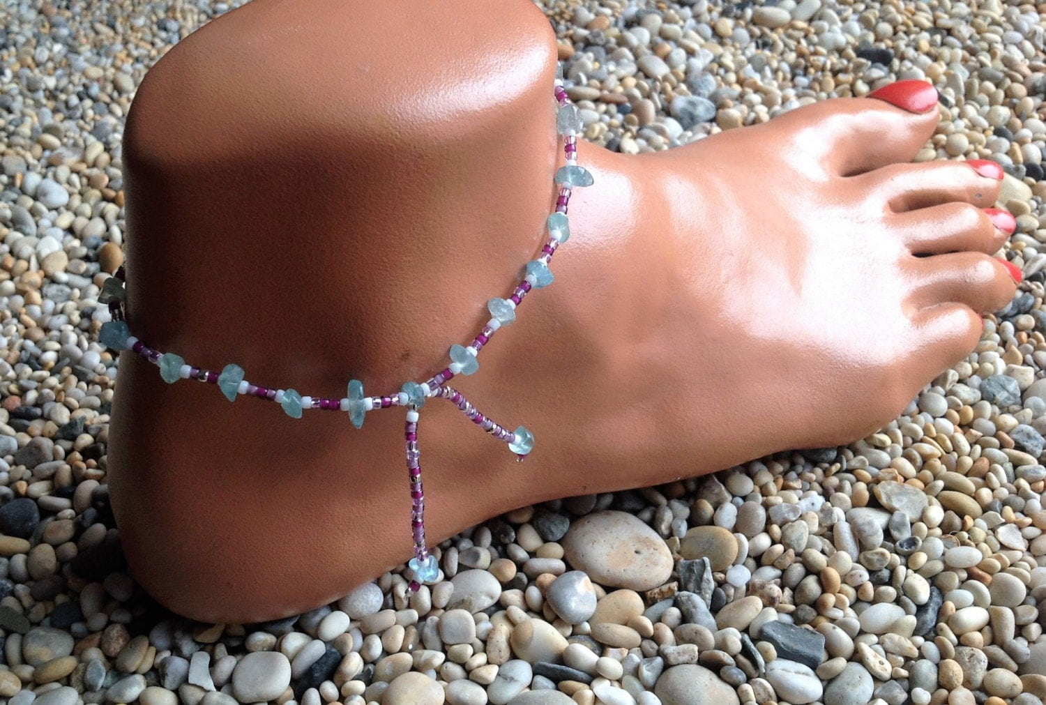 Apatite crystal with purple white and clear glass beaded anklet with beaded tassels
