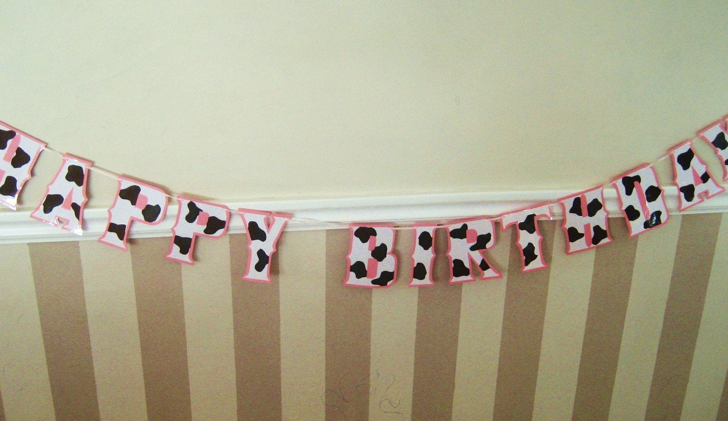 HaPPY BiRTHDAY Banner - Chocolate Brown CoW PRiNT on Baby PiNK