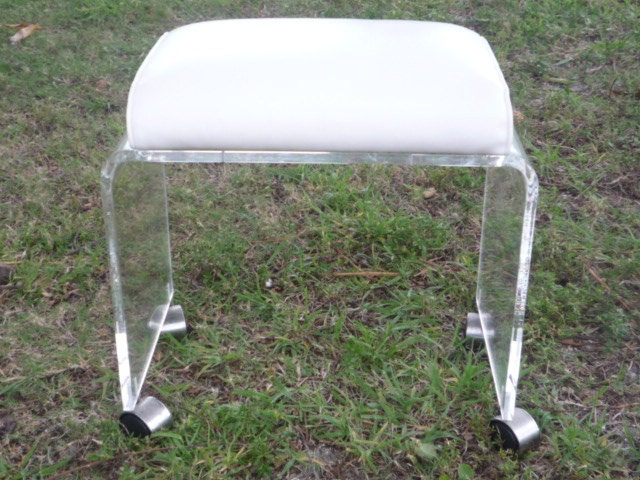Vintage Lucite Vanity Stool Bench Ottoman Wheels By