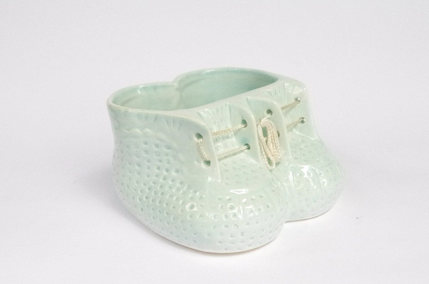Vintage Booties Planter in Pastel Blue - Baby Boy, Christening