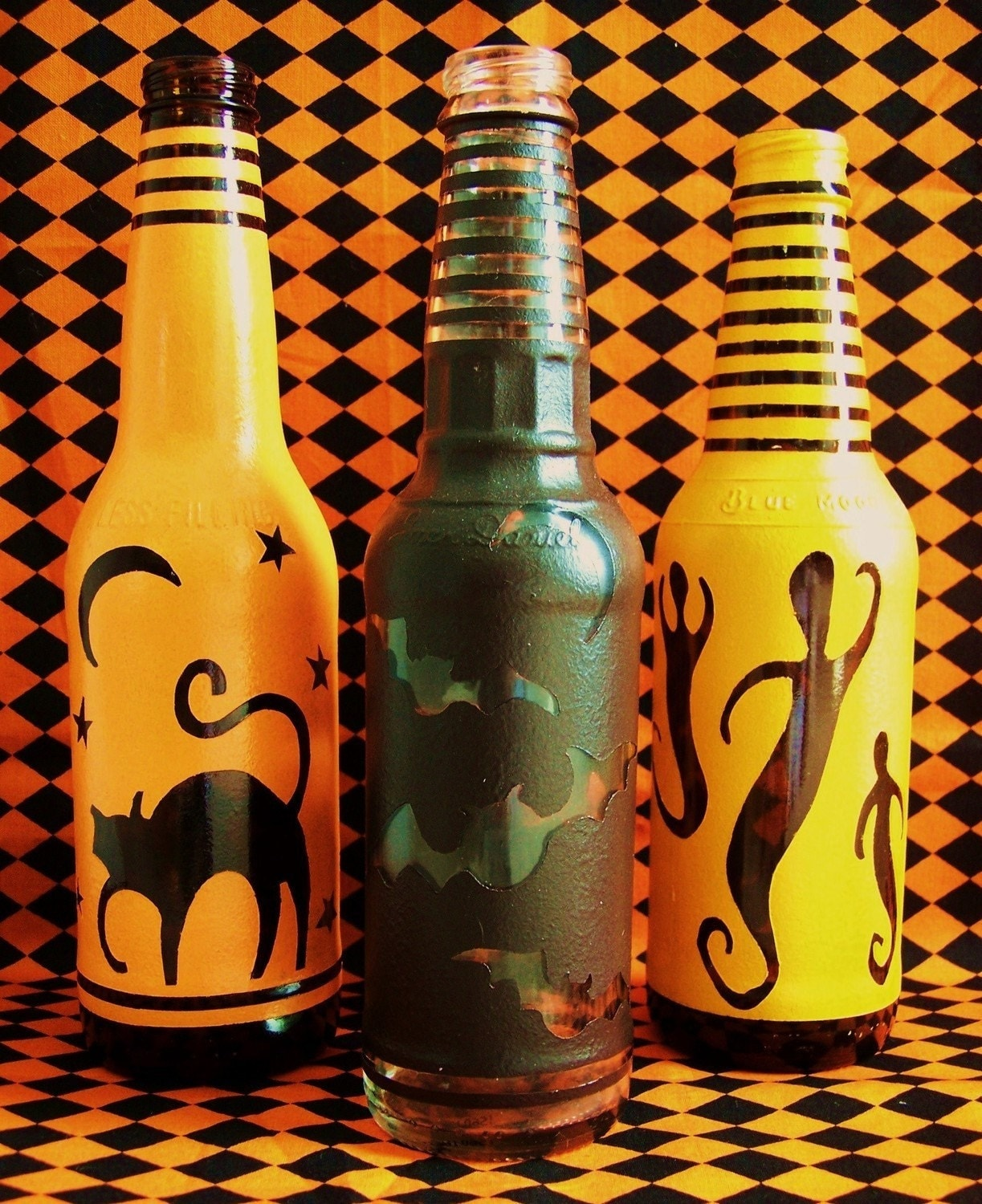 Set of 3 Primitive Halloween Upcycled Bottles Cats Ghost Bats