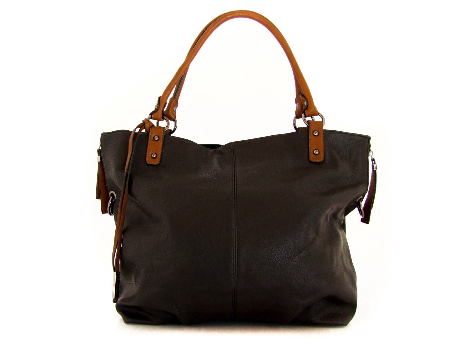 Handmade vegan leather handbag tote black -  the Maeve - 20%  launch discount - TRACCEbags
