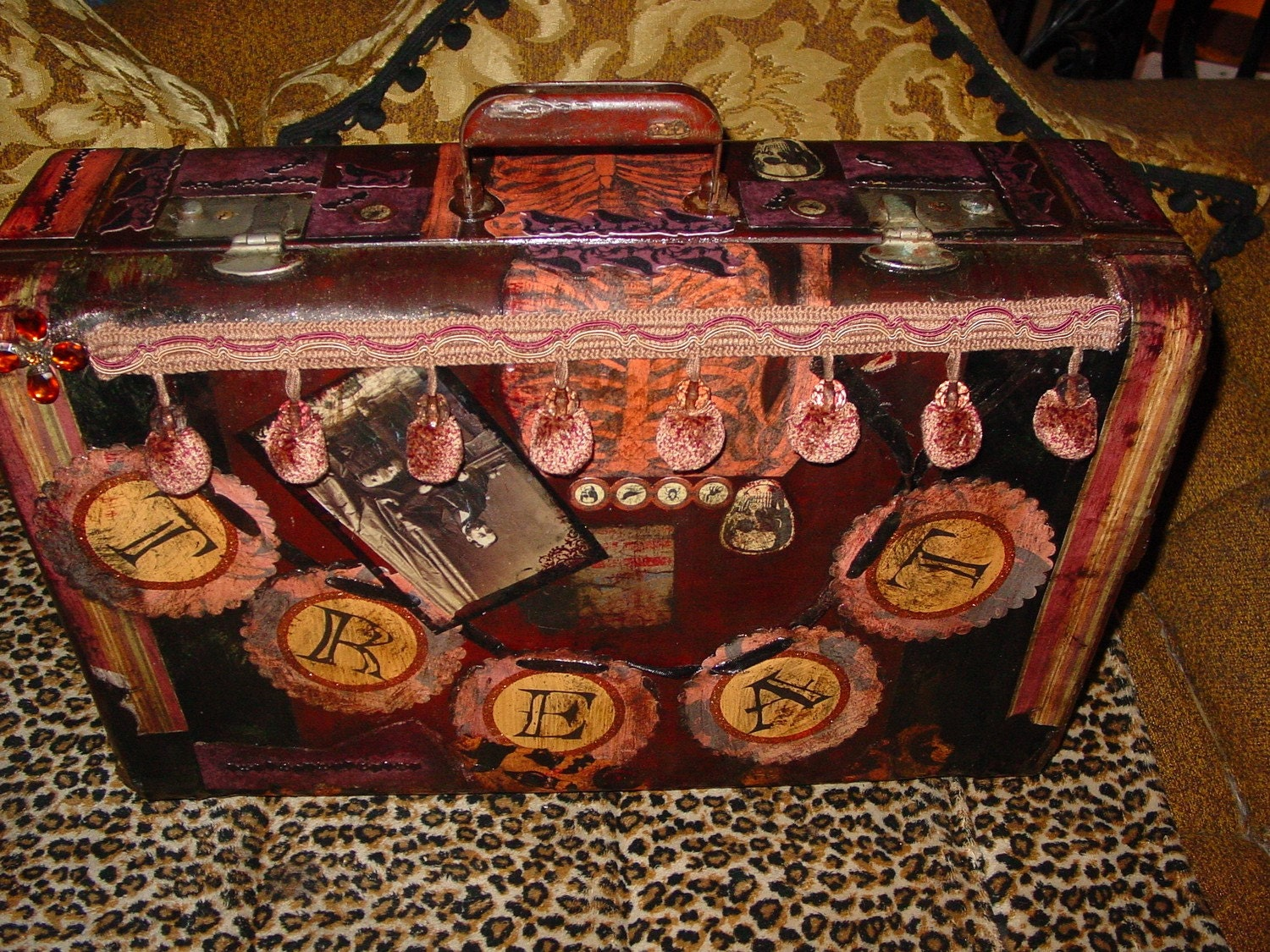 Trick or Tweet GOTHIC  recycled vintage suitcase from the 1940s  USE TO STORE your Halloween costume or as prop