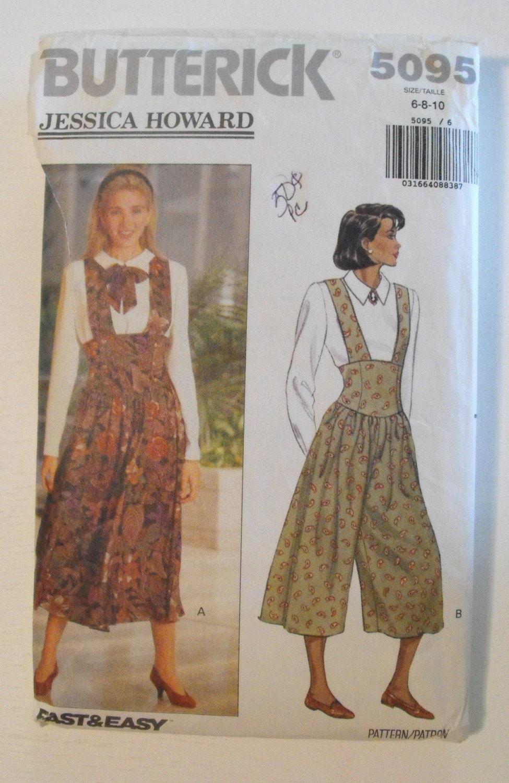 Butterick 5095 Misses Jumper, Jumpsuit, Top, Sizes 6, 8, 10, Vintage