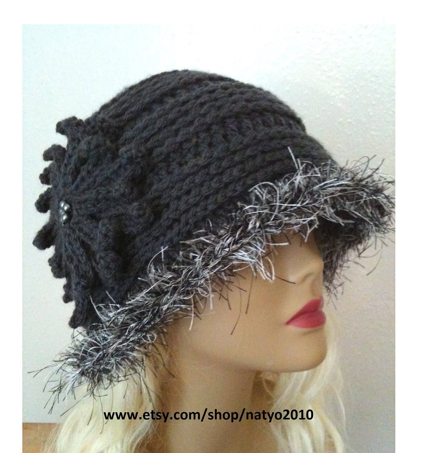 Elegant Cloche Gray Crochet Hat Pattern CAN SELL Finish Item