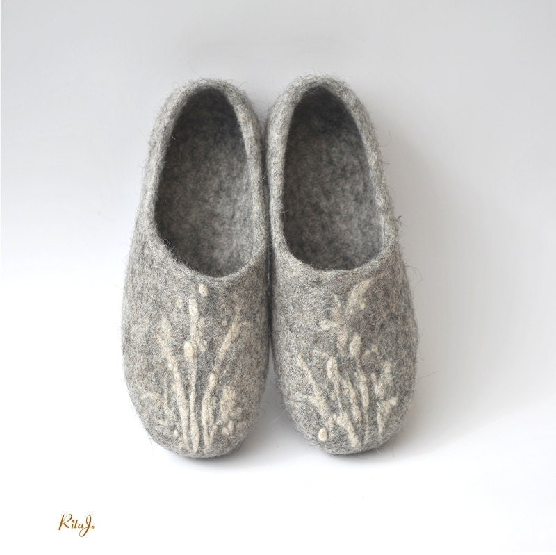 Handmade eco friendly felted slippers from natural wool - grey - RitaJFelt