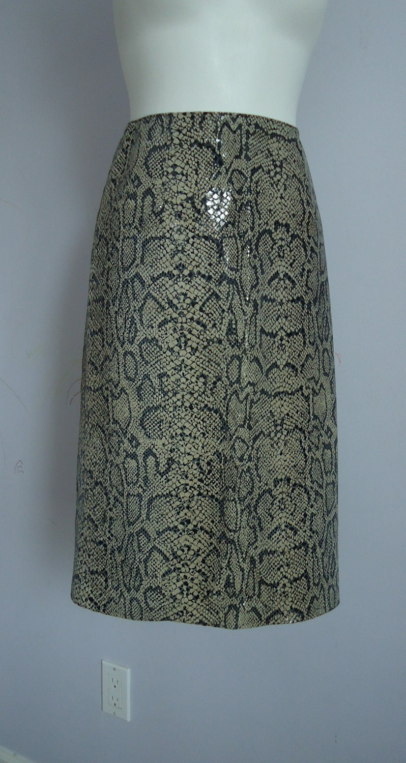 vintage danier leather skirt snake skin embossed by