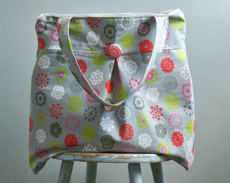 Weekend Bag - Grey Floral Linen