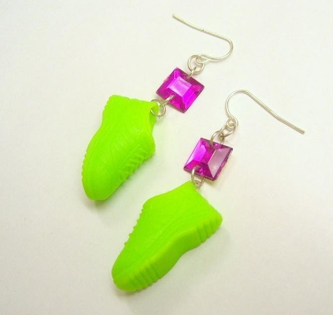 neon green sneaker earrings