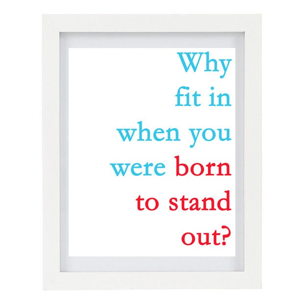 Born To Stand Out, Dr Seuss Quote, Inspirational Quote, Typography Art Print, Blue and Red, Customizable, 8 x 10 FREE AU SHIPPING - ColourscapePrints