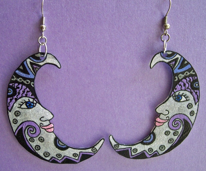 Silver Crescent Moon Hand Painted