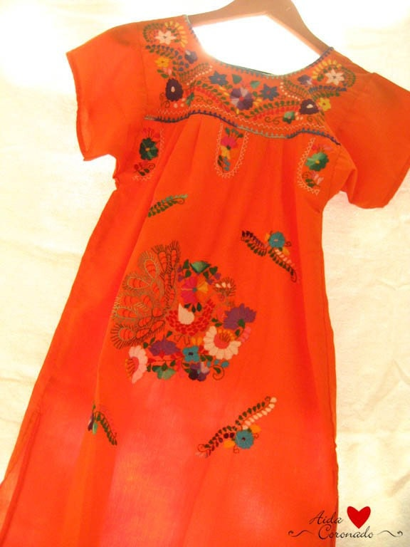 Mexican Vintage embroidered mini tunic dress blouson Hippie Orange size S or M