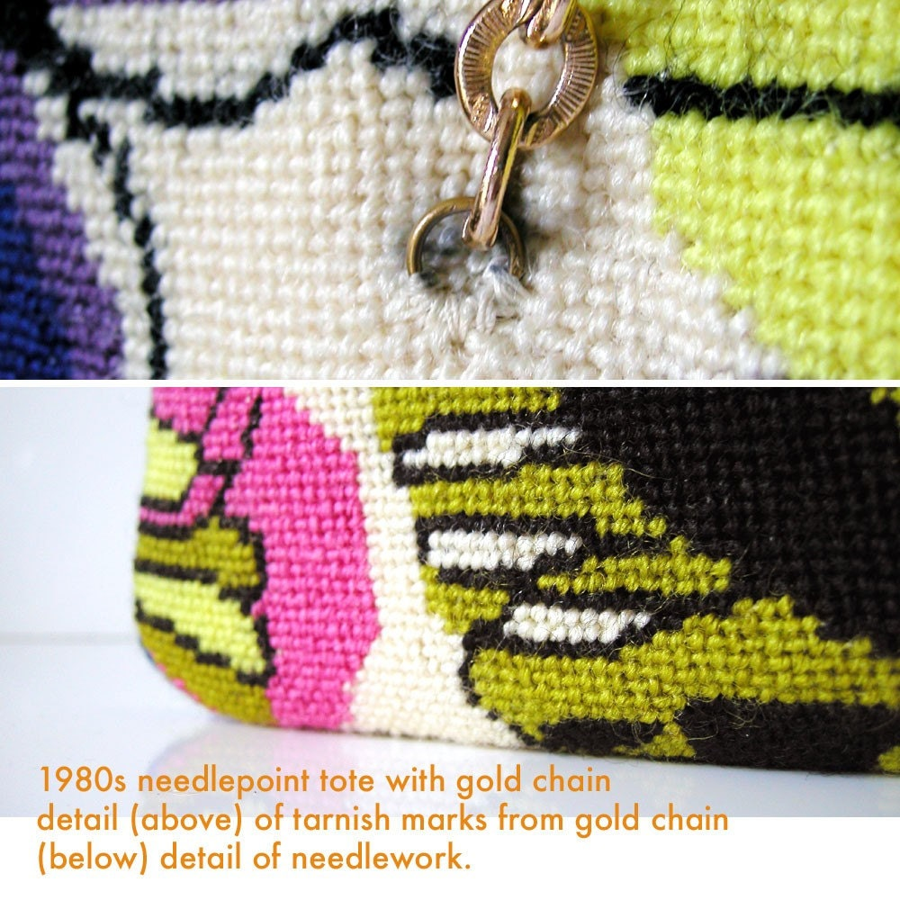 1970s Needlepoint Chic Op Art tote 1970s/80s gold braided chain/ RIch color butterfly design