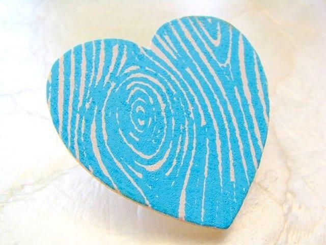 Faux Bois Heart - An Eco-Friendly Pinback