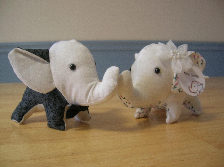 Tiny Stuffed Couple Elephants- Mr. and Mrs. Smith