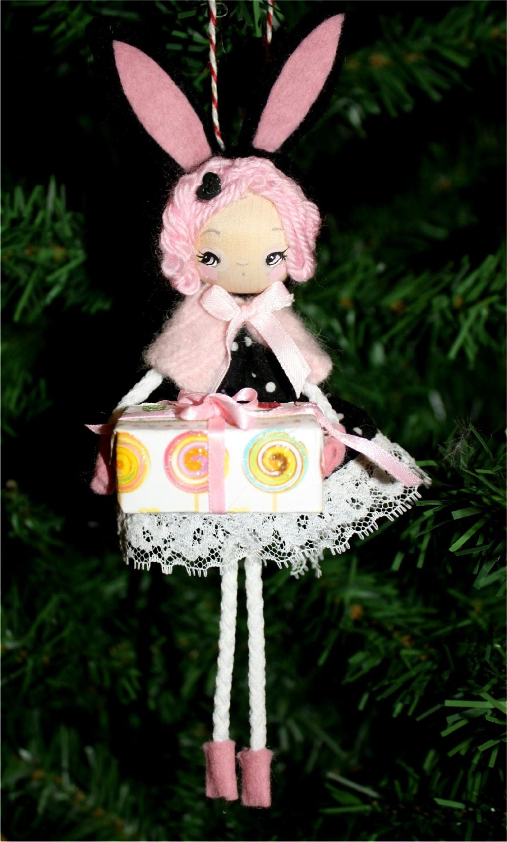 Babette Bunny---Wooden Handmade Tree Ornament