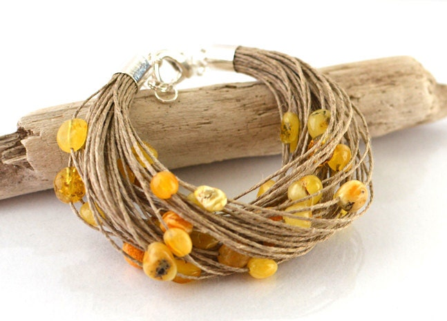 Yellow Baltic Amber bracelet, Natural Amber Jewelry Linen Yellow Gold Autumn Fall Fashion Jewelry - KARUBA