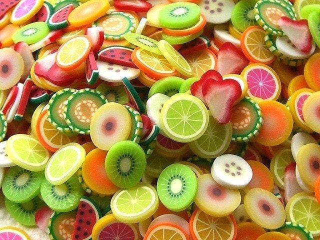 Kawaii Cute Japanese Teeny Tiny Fruit  Slices - Mixed Set - 500 Pieces 10mm