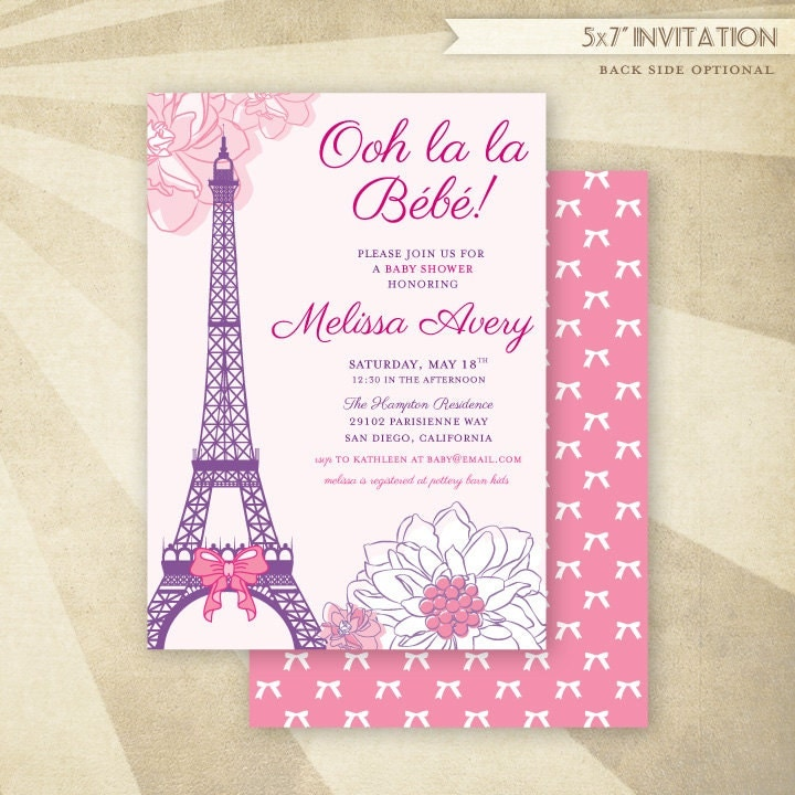 paris baby shower invitation printable or printed by hwtm on etsy
