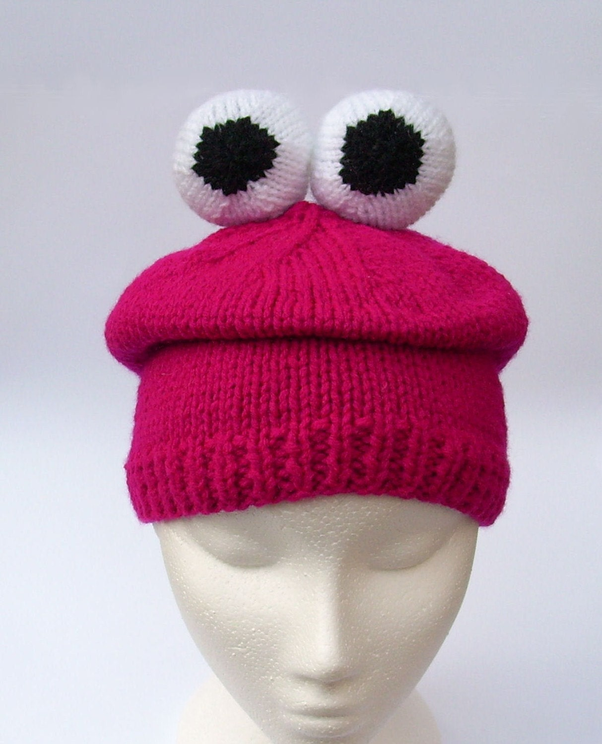 Monster beanie crazy hat unique unusual monster knit hats handmade critter beanie in deep pink with eyeballs