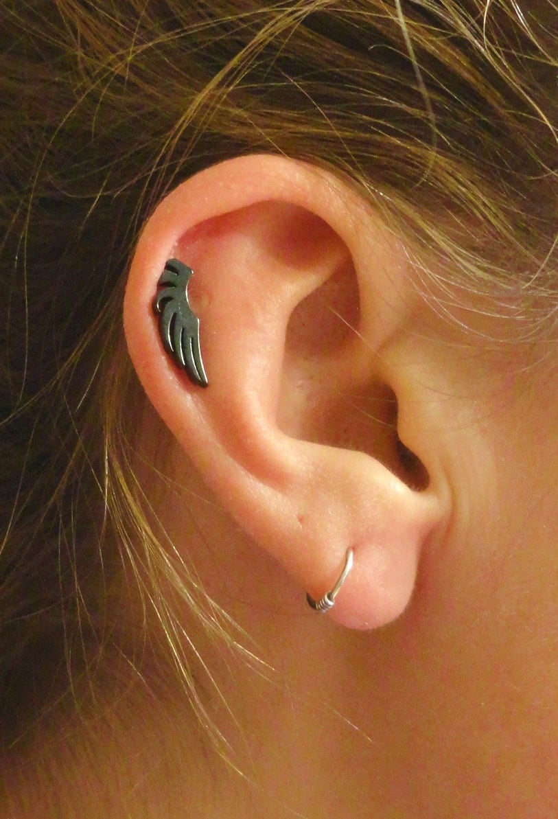 black wing cartilage earring tragus helix by